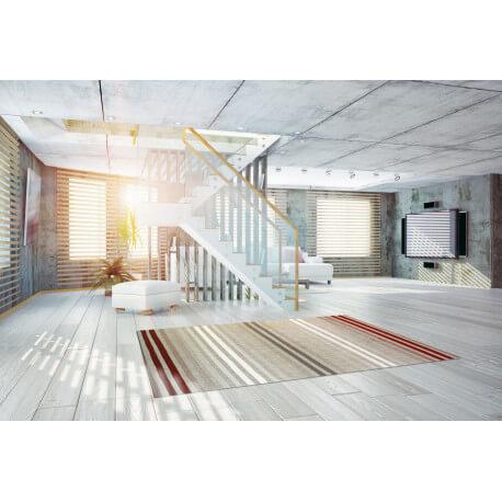 tapis plat moderne int rieur et ext rieur en polypropyl ne rouge tusso. Black Bedroom Furniture Sets. Home Design Ideas