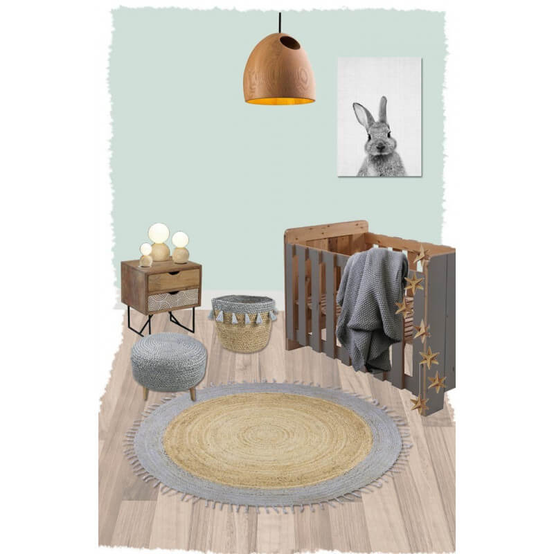 tapis rond en jute avec franges pour chambre d 39 enfant. Black Bedroom Furniture Sets. Home Design Ideas