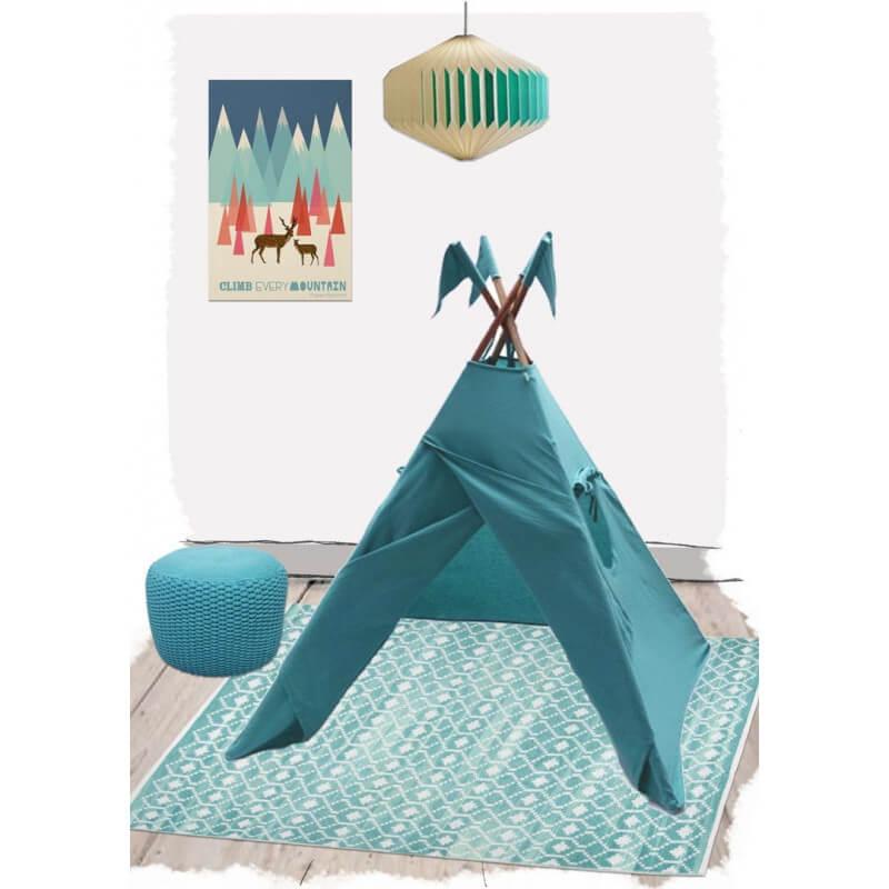 tapis en coton bleu pour chambre enfant nomade nattiot. Black Bedroom Furniture Sets. Home Design Ideas