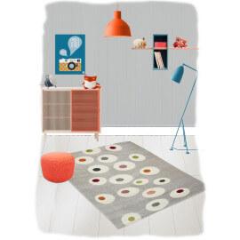 Tapis moderne pour chambre de bébé gris Dot Nattiot