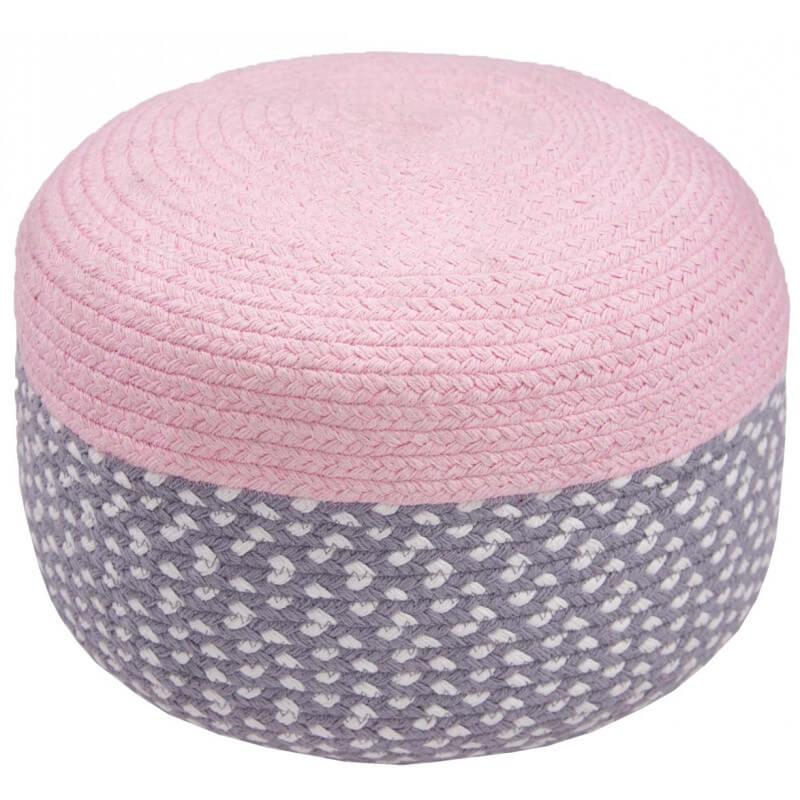 pouf en coton tress main rose brenda. Black Bedroom Furniture Sets. Home Design Ideas