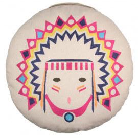 Coussin brodé en coton ethnique Tribal Nattiot