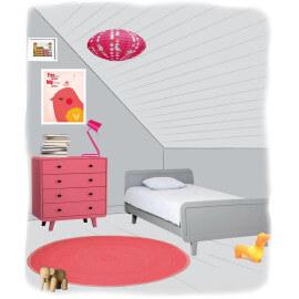 Tapis en laine feutrée pour enfant Halo Pink Paradise Nattiot