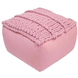 Pouf en coton crocheté main rose Néo Nattiot