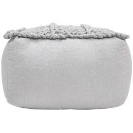 Pouf en coton crocheté main gris Néo Nattiot
