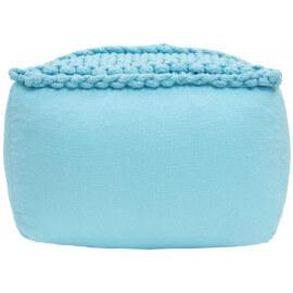 Pouf en coton crocheté main bleu capri Néo Nattiot