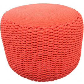 Pouf moderne crocheté main en coton orange Needle Nattiot
