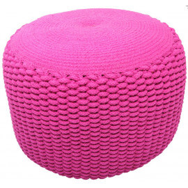 Pouf moderne crocheté main en coton rose Needle Nattiot