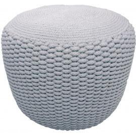 Pouf moderne crocheté main en coton gris Needle Nattiot