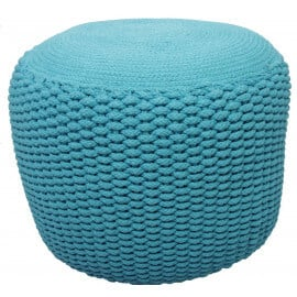 Pouf moderne crocheté main en coton turquoise Needle Nattiot