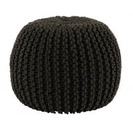 Pouf contemporain en coton crocheté anthracite Maille