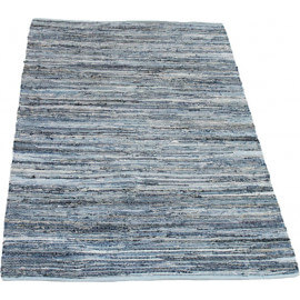 Tapis bleu et blanc plat rectangle Denim