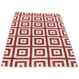 Tapis d'intérieur rouille et blanc tissé main Tiles