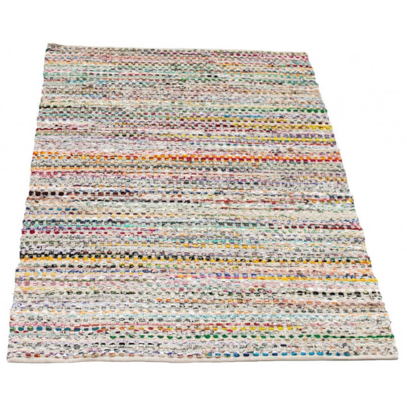 tapis en coton multicolore clair plat multinatural - Tapis Coton