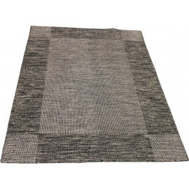 Tapis en laine tissé main rectangle noir et blanc Border