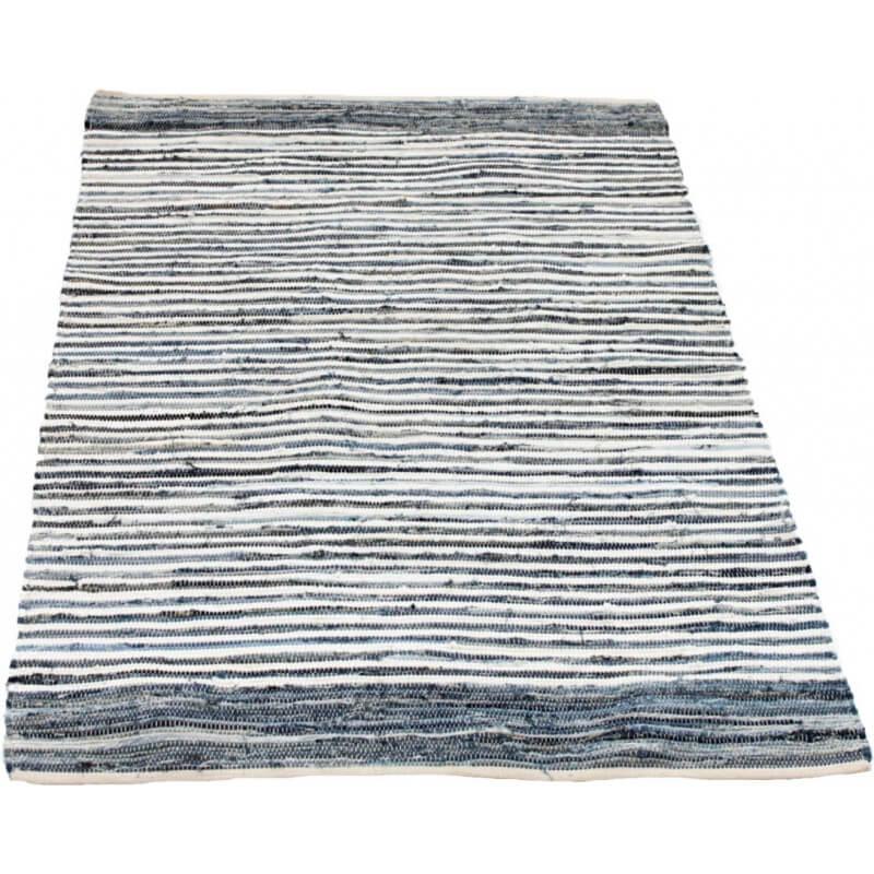 tapis jeune habitat bleu et blanc en coton jeans - Tapis Habitat