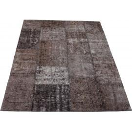 Tapis patchwork vintage gris en coton Topaz