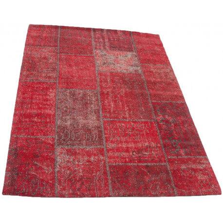 tapis patchwork vintage rouge en coton topaz - Tapis Patchwork