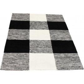 Tapis pour intérieur noir et blanc plat Checkers