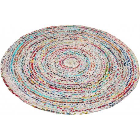 tapis rond tiss main plat en coton muliticolore blanc circle. Black Bedroom Furniture Sets. Home Design Ideas