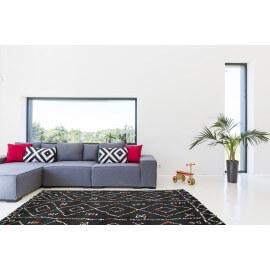 Tapis de salon shaggy noir en polypropylène Royal Nomadic