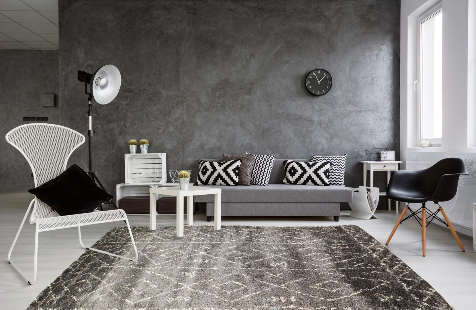 Tapis de salon shaggy gris foncé ethnique Royal Nomadic