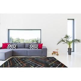 Tapis scandinave shaggy géométrique noir Novak