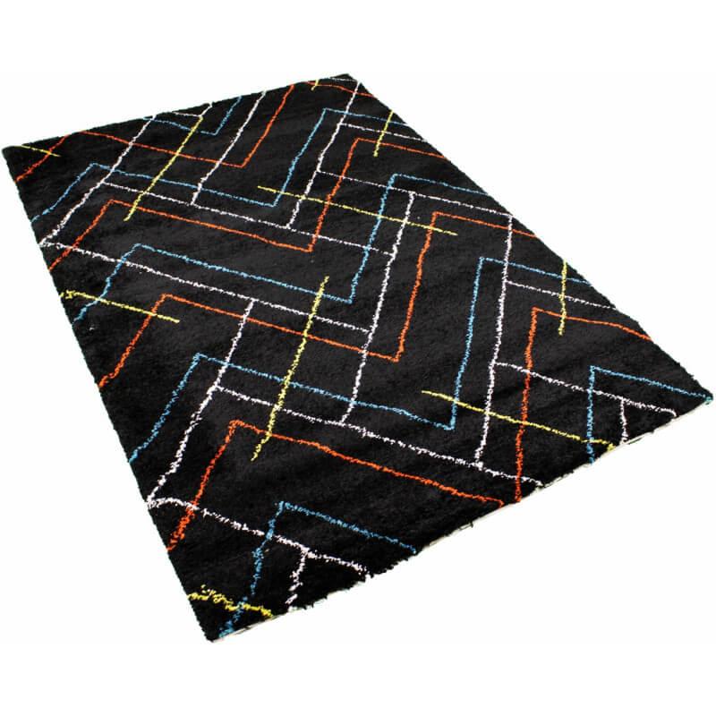 tapis scandinave shaggy g om trique noir novak. Black Bedroom Furniture Sets. Home Design Ideas