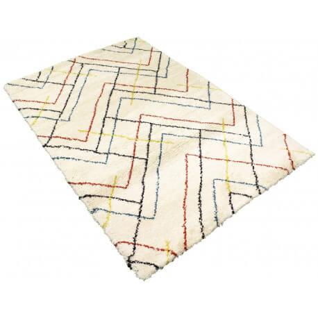 Tapis scandinave shaggy géométrique crème Novak