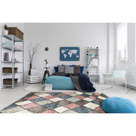 Tapis shaggy pour salon scandinave rose Volto