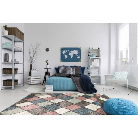 tapis shaggy pour salon scandinave rose volto. Black Bedroom Furniture Sets. Home Design Ideas