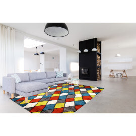 Tapis shaggy pour salon scandinave orange Volto