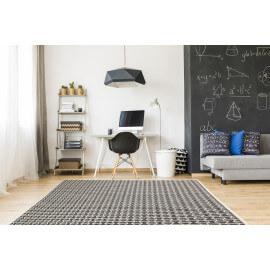 Tapis géométrique plat noir intérieur et extérieur Jersey Home