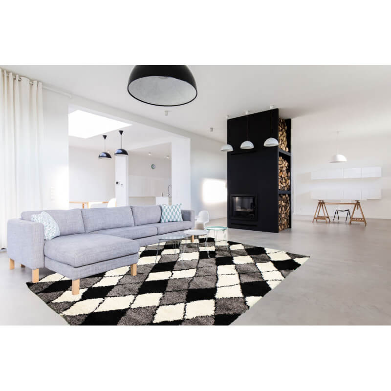 tapis shaggy pour salon scandinave gris volto. Black Bedroom Furniture Sets. Home Design Ideas