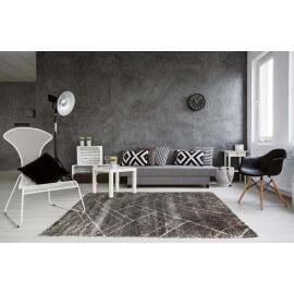Tapis scandinave shaggy géométrique gris foncé Novak