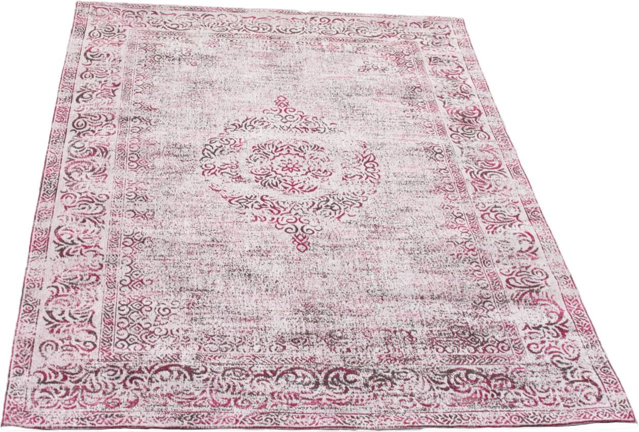 Tapis Style Oriental Vintage En Coton Rose Sublime