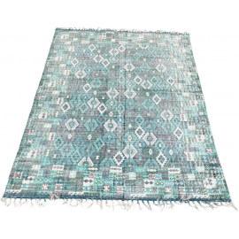 Tapis vintage en coton avec franges bleu et vert Teheran
