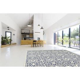 Tapis bleu effet mosaïque plat pour intérieur Sevilla