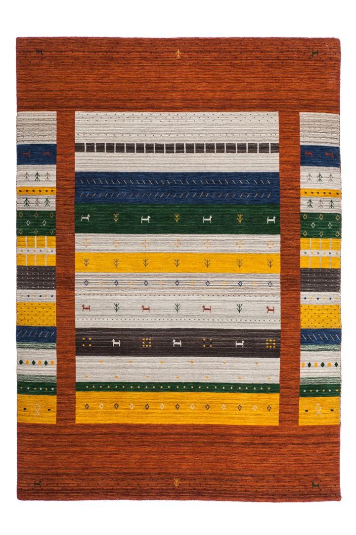 Tapis noué main ethnique en laine Himalaya