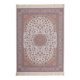 Tapis avec franges en acrylique style orient ivoire Isfahan