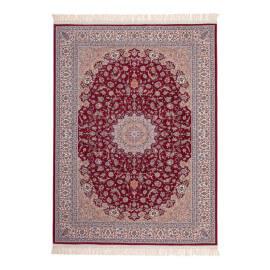Tapis avec franges en acrylique style orient rouge Isfahan