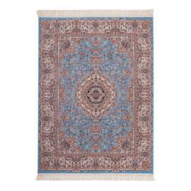 Tapis oriental ave franges à courtes mèches bleu Isfahan