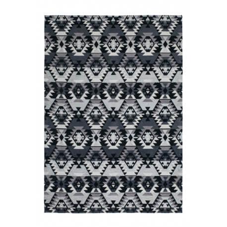Tapis scandinave en polyester noir plat Cocoon