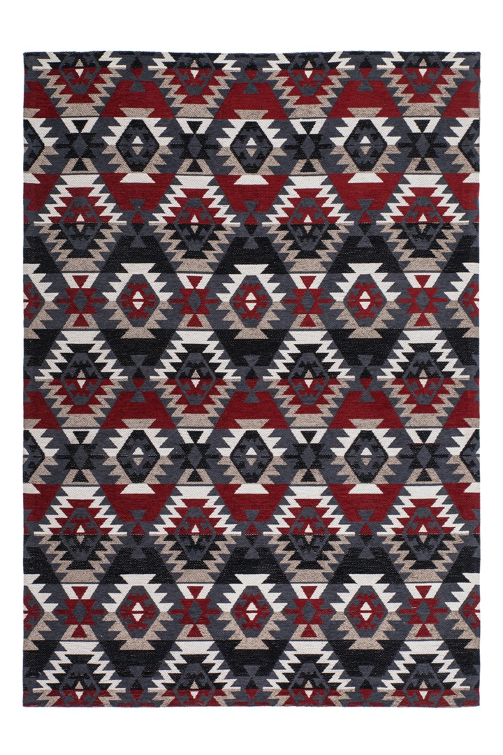 Tapis scandinave en polyester rouge plat Cocoon