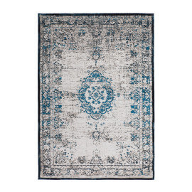 Tapis vintage style orient turquoise plat Cocoon