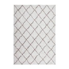 Tapis shaggy ivoire en polyester doux Grace