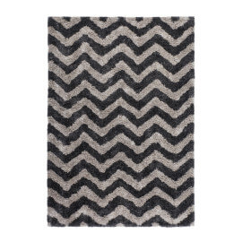 Tapis contemporain shaggy graphite doux Grace