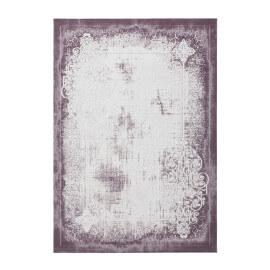 Tapis vintage en acrylique lila avec franges Tekke