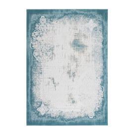 Tapis vintage en acrylique bleu pastel avec franges Tekke
