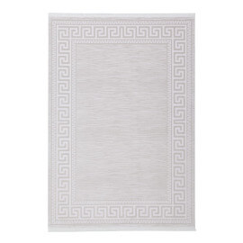 Tapis argenté contemporain avec franges Cross